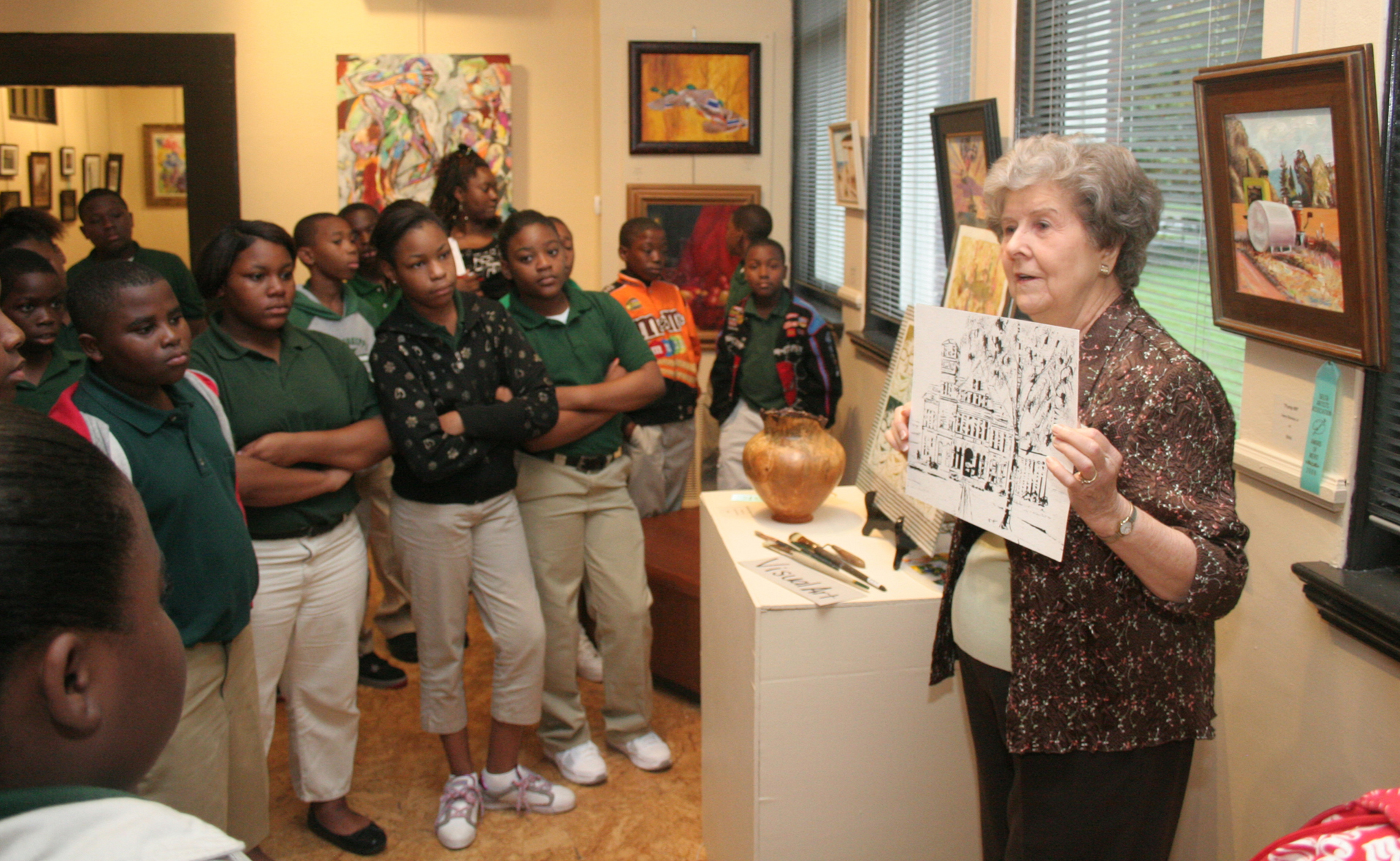 Iris Mitchell with Students