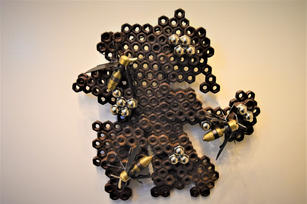 Lauren Bostic.  Honeycomb. Steel, brass. 8.5x8x2 nches. $350.JPG