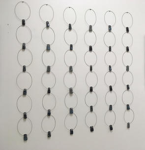 Stepanie Bushea. Pendant Grid. glass and wire. 48x48 in installed. $35 each unit.jpg