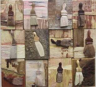 Ron Koehler.  Brush Block Grid # 20. wood. 12x13.5 in. $480.jpg
