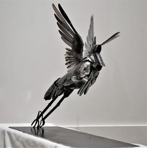 Lauren Bostic.  Ascendant (R). Steel, silverware. 24x12x24 inches, $2000.JPG