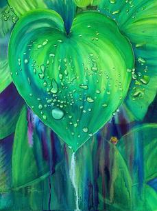 Pam Locke.  Hosta Hopper. watercolor. 18x24 plus frame. $1,295.jpeg