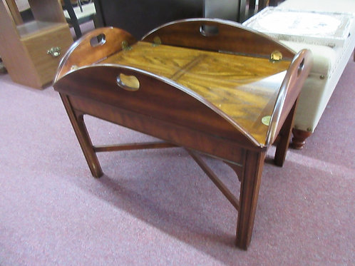 Rectangular coffee table with 4 hinged sides, looks like a butler tray
