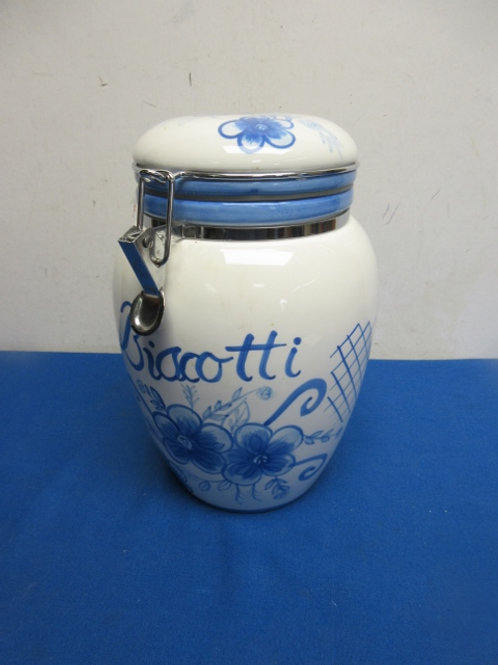 Lillian Vernon blue & white canister with locking lid