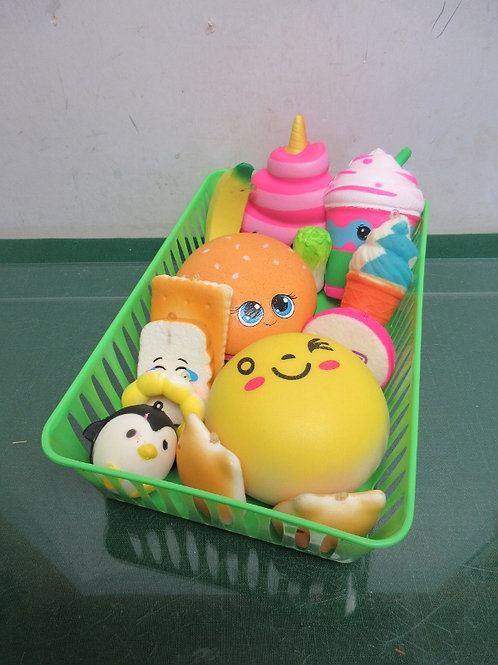 Set of 14 squishies - 4 large and 10 small - assorted styles