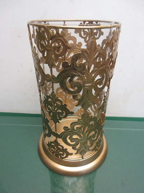 """Gold cylinder style candle holder with glass insert, 6x13"""""""