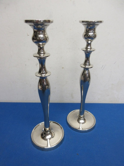 """Pier I pair of silver pillar candle stands 12"""" tall"""