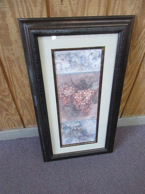 Print of grapes, white mat, dark tone frame 16x28