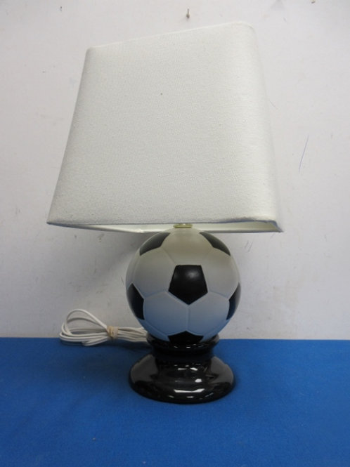 """Soccer ball table lamp with square white shade, 15""""high"""