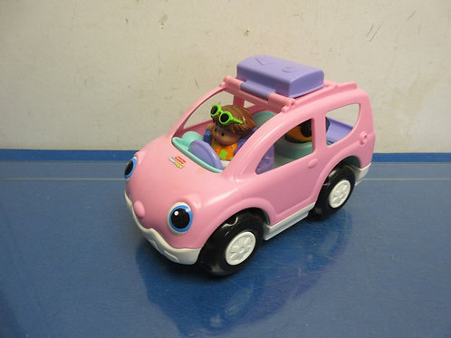 Fisher Price little people pink car with 2 people