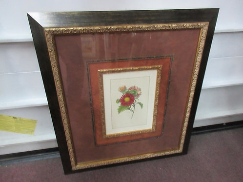 Large double matted print of flowers in ornate brown frame - 32x36