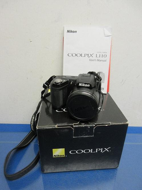 Nikon coolpix L110 digital camera with accessories in box