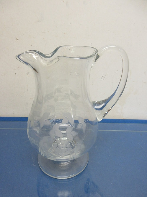"""Etched footed clear glass pitcher 11.5"""" high"""
