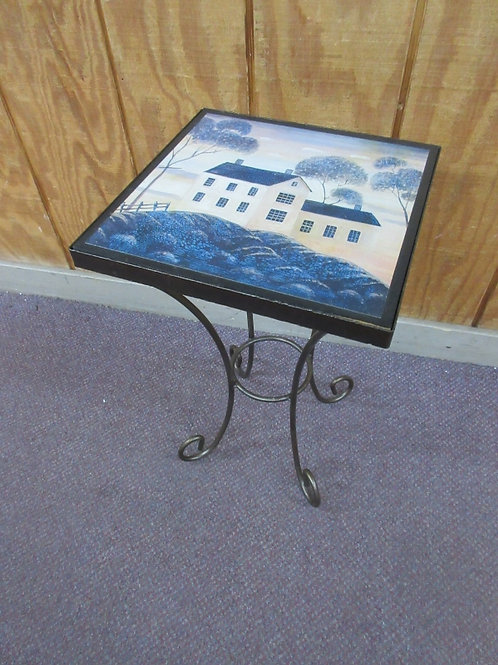 "Metal frame accent table-Amish painting of a house on the top, 12x12x19""high"
