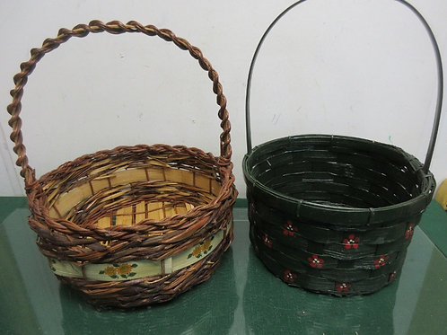 Pair of round Easter baskets, green w/red flowers & wicker/sunflower design