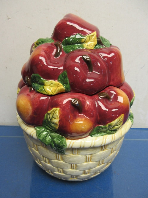 Ceramic cookie jar in the shape of a basket of apples