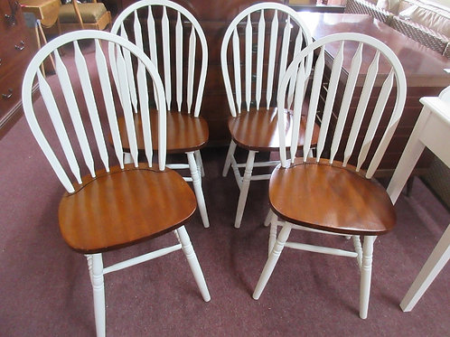 Set of 4 white and natural tone wooden Windsor back dining chairs