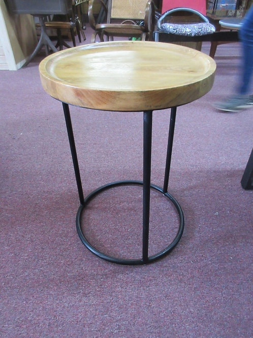 """Metal frame wood top round accent table, 17'dia x 24""""high"""