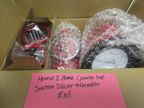 House to Home red counter top suction slicer & grater