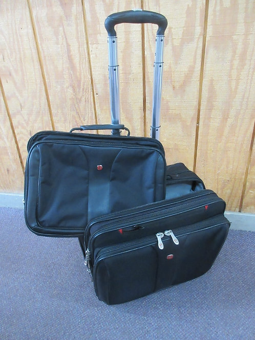 Swiss Gear pull along black case with matching computer case that fits inside