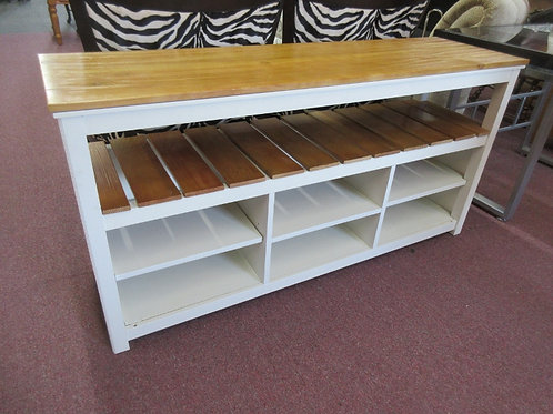 White and natural tone TV stand with lower shelves/storage