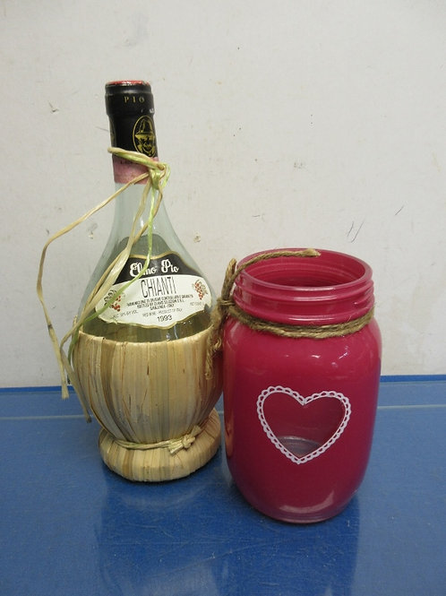 Pair of hand crafted vases, wine bottle & painted mason jar with heart design