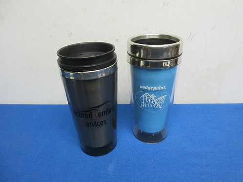Two stainless travel coffee mugs