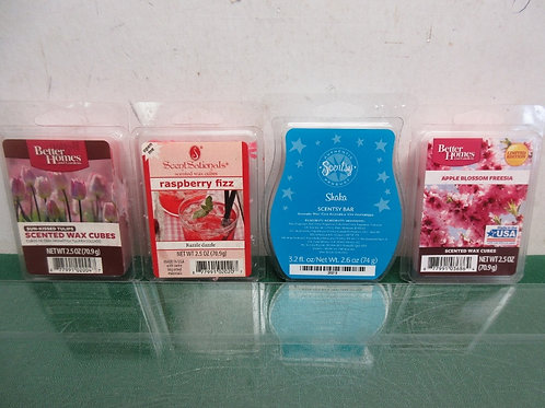 Set of 4 scented wax packs - apple blossom, raspberry, tulip & shaka, All New