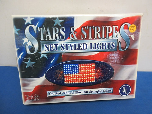 Stars and stripes flag made up of 150 netted string lights