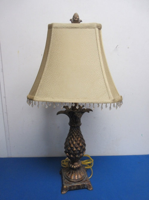 """Copperlike table lamp with pineapple design and beige bejeweled shade, 24"""" tall"""