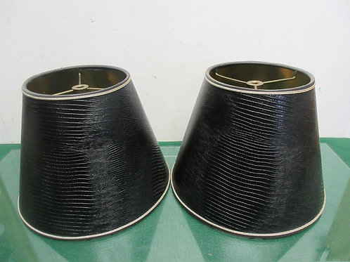 """Pair of faux black leather style lamp shades each 8""""high"""