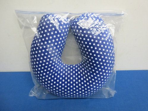 Blue and white polka dot travel neck cushion, like new