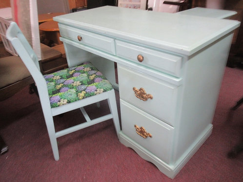 """Mint green painted 4 drawer desk with chair, paint is chipped, 19x40x30""""high"""
