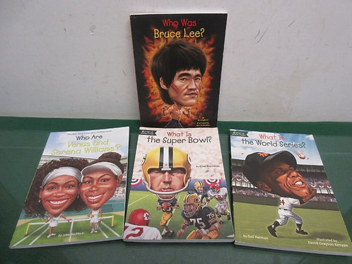 """Set of 4 """"who was…"""" children's paperback books - sports theme"""