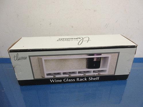 True Living Essentials, white wood wine glass rack shelf