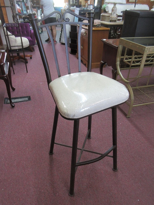 """Heavy duty brown metal swivel bar stool with ivory upholstered set - 30"""" - 2 ava"""