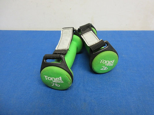 Pair of Total Fitness, 2 lb green weights,