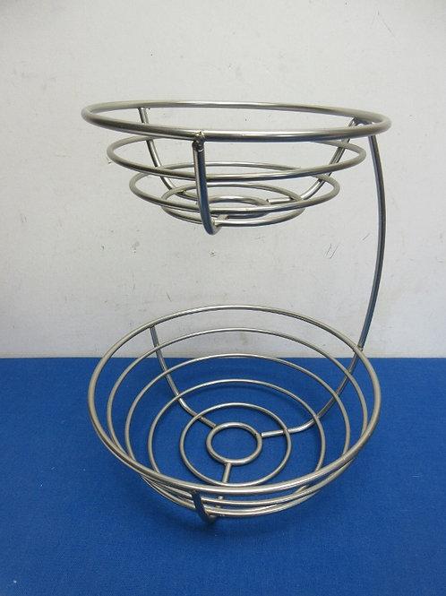 Heavy metal silver 2 tier fruit bowl