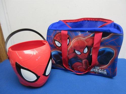 Pair Spiderman items, large tote, and plastic spiderman bucket