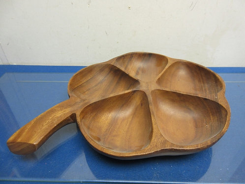Monkey Pod wooden clover shaped 5 section serving bowl