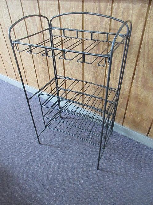 "Silver metal wine rack with sliding stemware shelf 13x21x36""high"