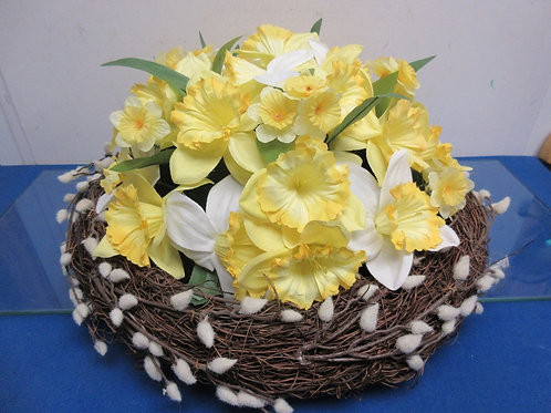 Marth Stewart Daffodil and Pussy Willow Nest Centerpiece - brand new
