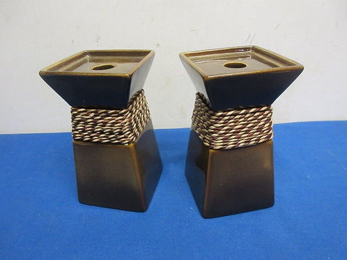 Pair of Partylite brown ceramic candle stands