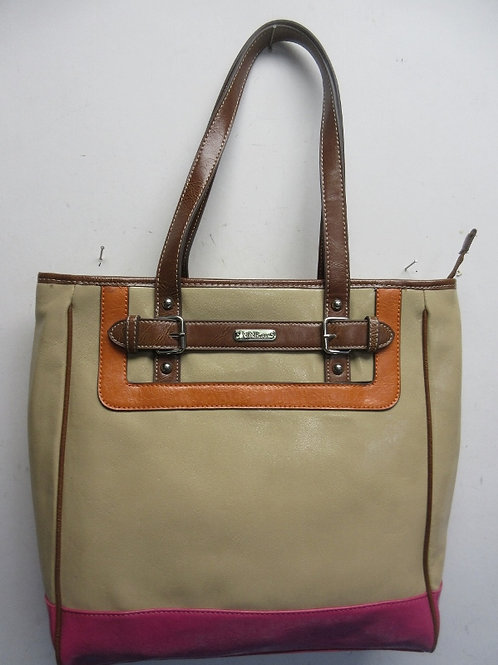 Nine and Co. tan leather purse with orange & magenta accents