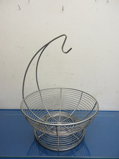 Chrome footed metal fruit basket with banana hook