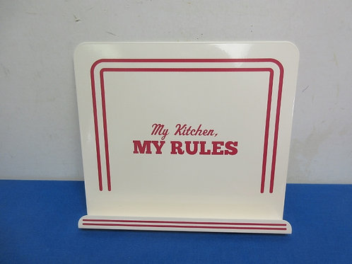 """Cake Boss heavy metal ivory cookbook stand  """"my kitchen, my rules"""" - brand new"""