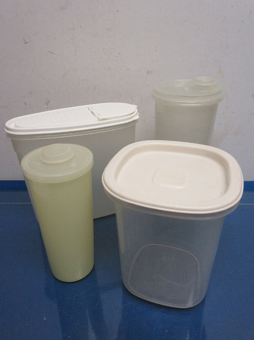 Set of 4 small containers, 2 are tupperware