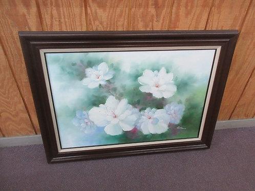 Large print of white flowers in dark wood frame 32x42