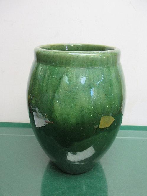 "Heavy Green ceramic large vase, 12"" high"