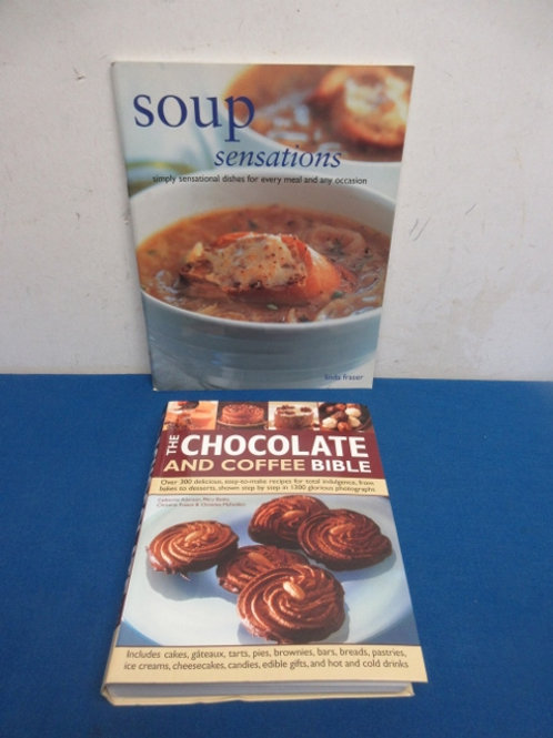 Pair of cookbooks, chocolate and coffee bible, & soup sensations